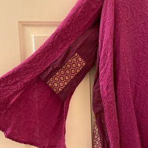 FREE PEOPLE dress/tunic-plumb-purple w/fun accents
